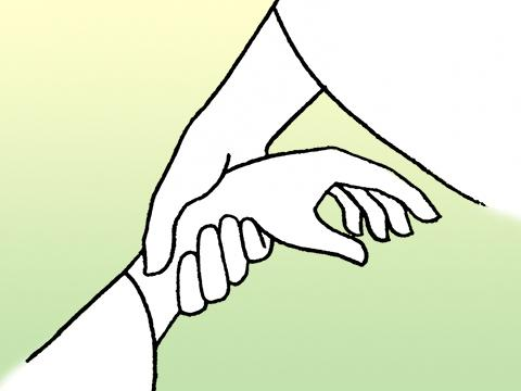 Illustration of a hand holding another by the wrist